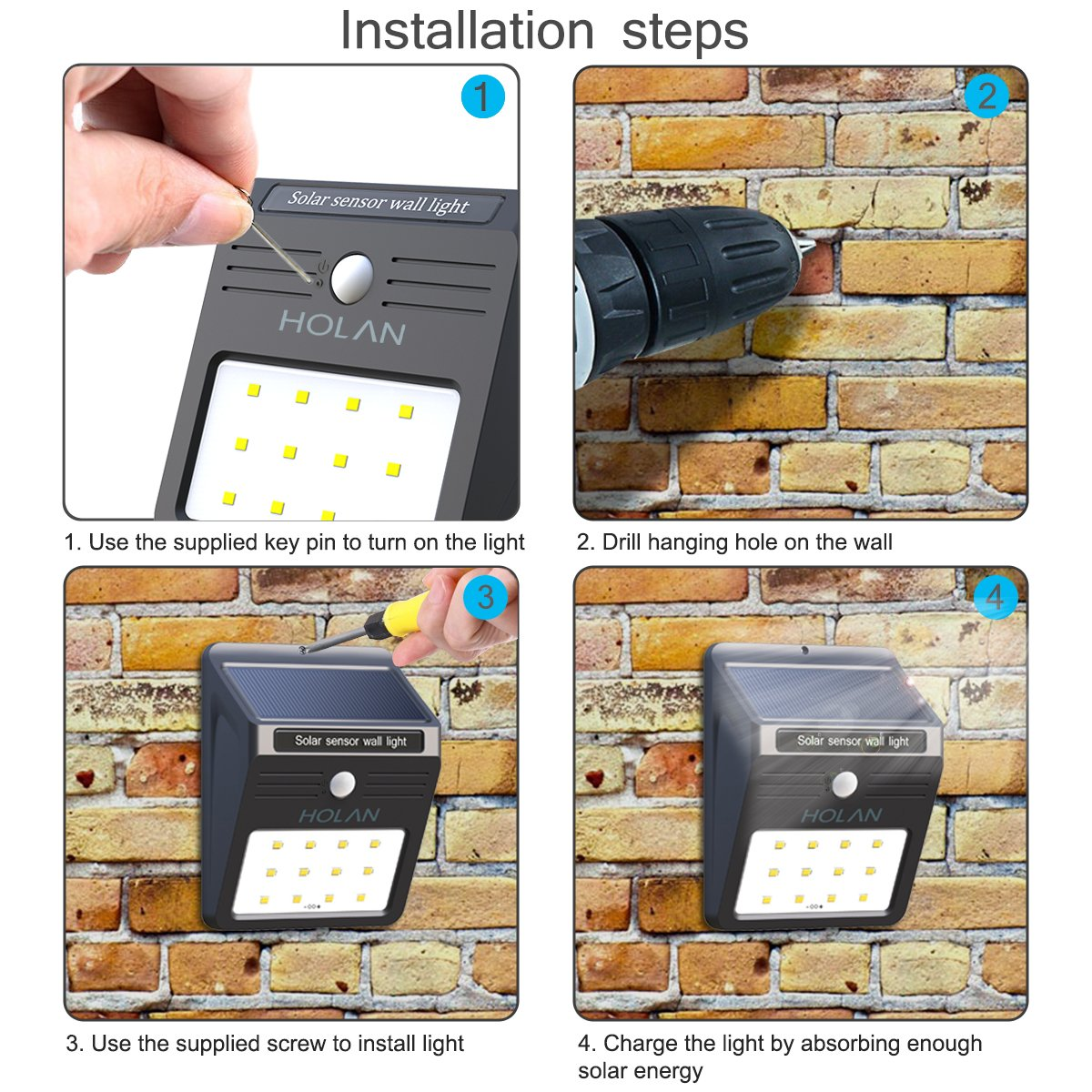 Mulcolor 12 LED Solar Lights Waterproof Solar Powered Motion Sensor Light Wireless Led Security Lights Outdoor Wall Light … by Mulcolor (Image #7)
