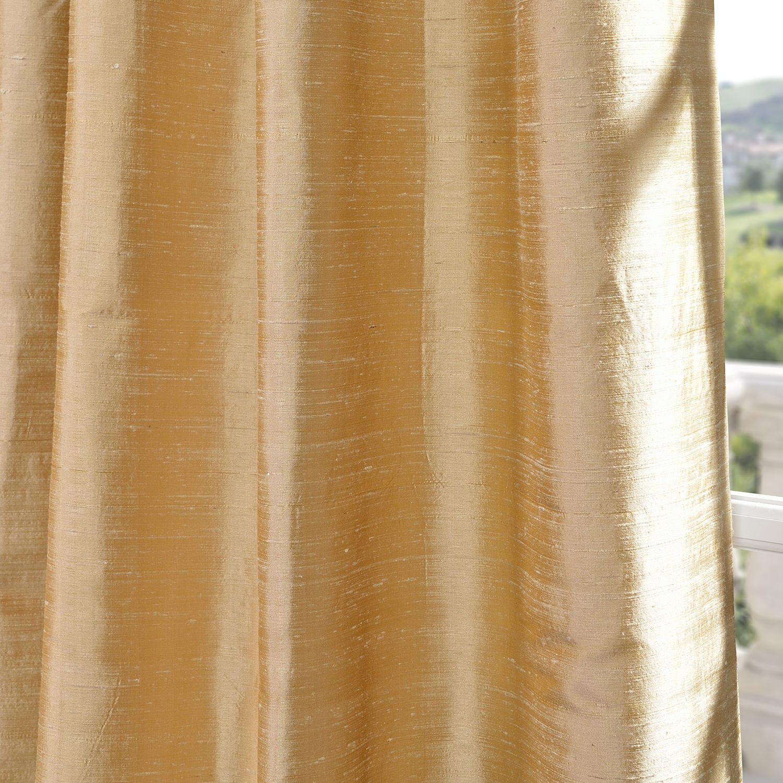 Half Price Drapes DIS-ID15-96 Biscotti Textured Dupioni Silk Curtain, Yellow