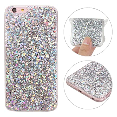 iPhone 6S Hülle, Rosa Schleife 3D Bling Case Transparent TPU Silikon Back Cover Glitzer Handyhülle Schale Etui Tasche Case Co