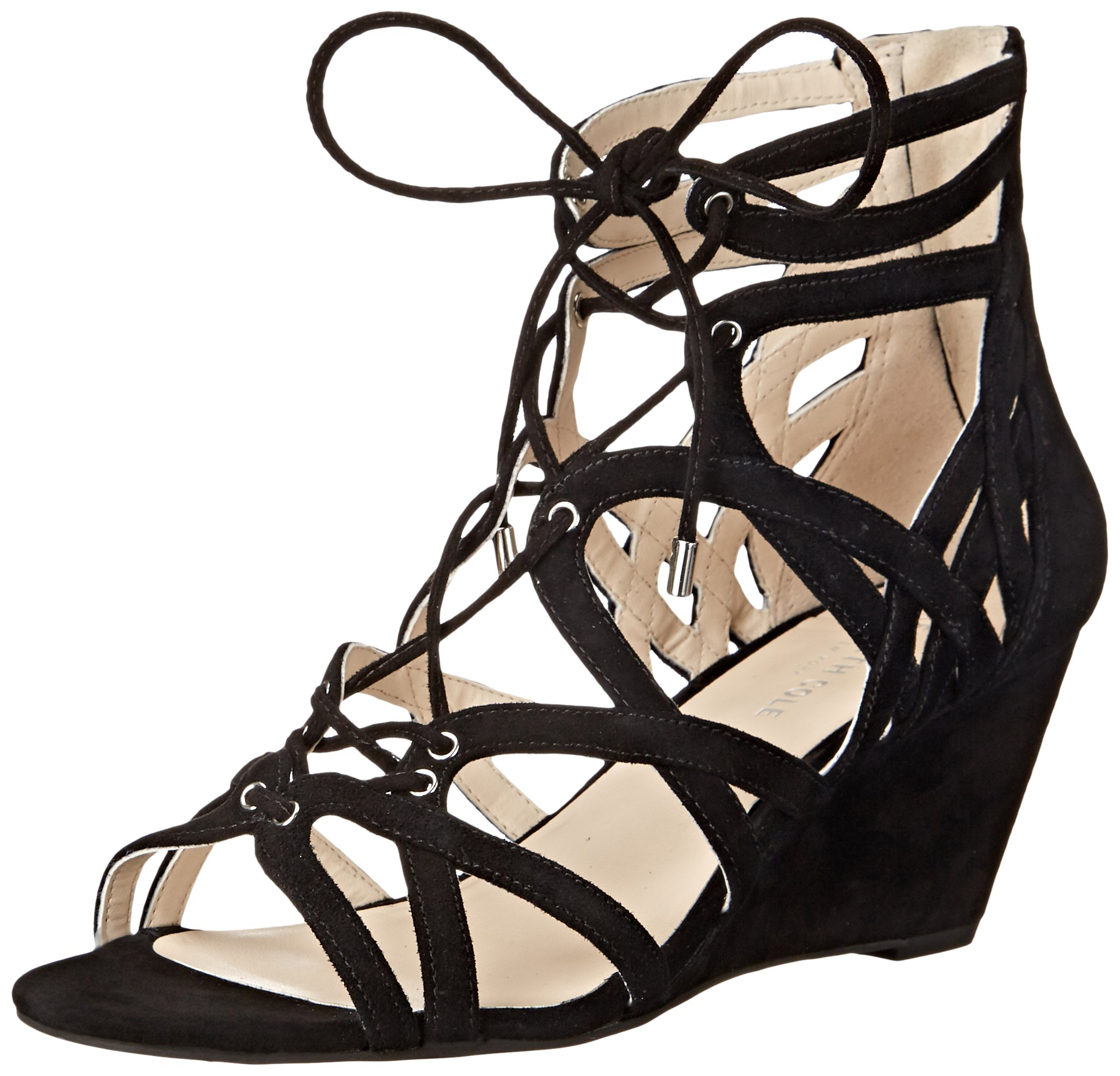 Kenneth Cole New York Women's Dylan Wedge Sandal, Black, 8 M US