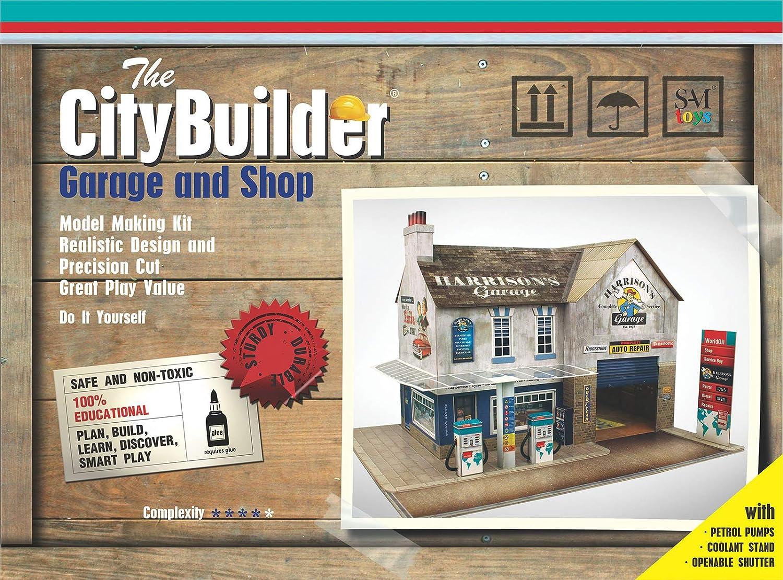 The CityBuilder O Gauge 1:48 Scale Garage & Shop Cardboard Model Making Kit Model Railroad Building