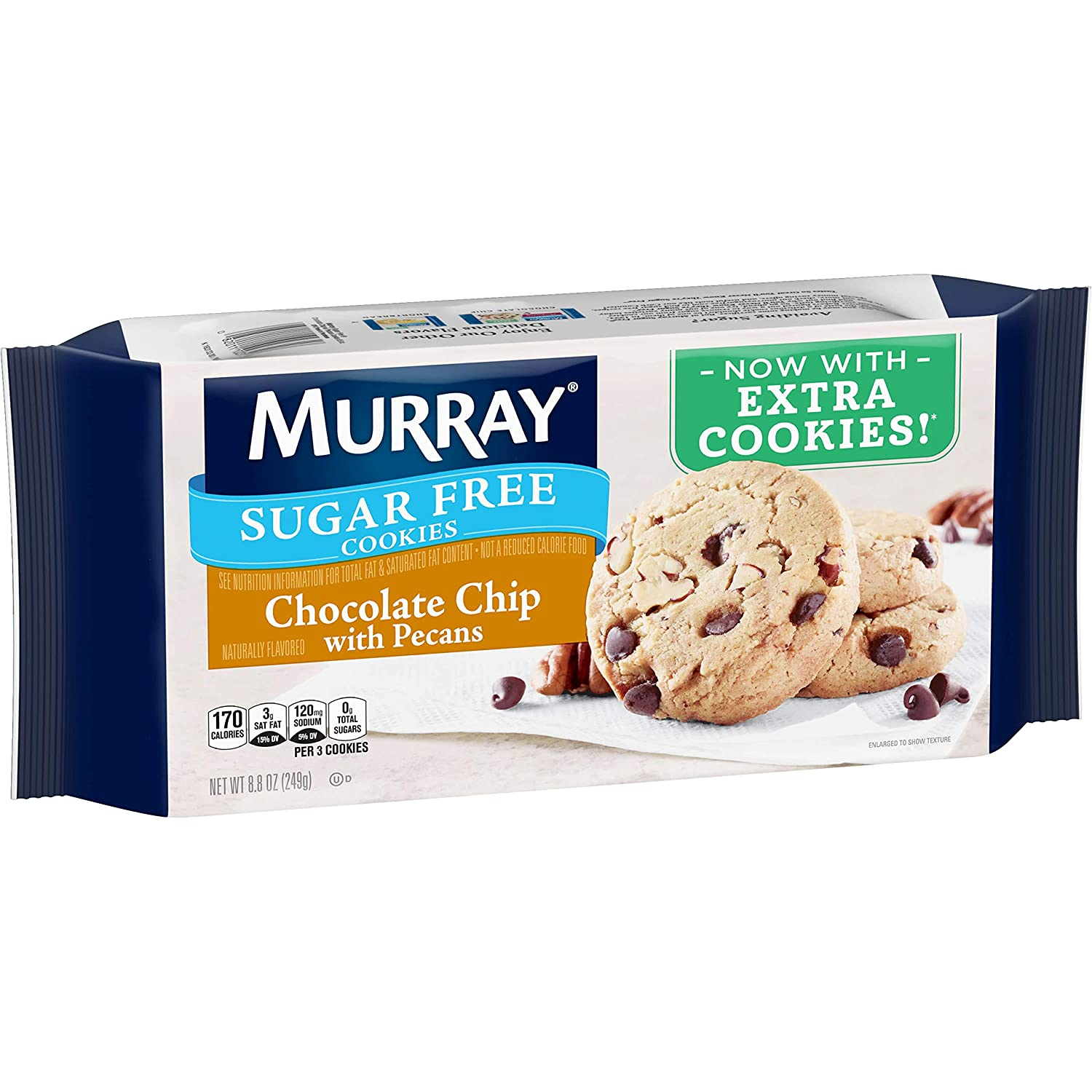 Murray Sugar Free Cookies, Chocolate Chip with Pecans, 8.8 oz Tray(Pack of 12)