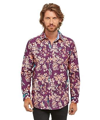 5ecf1daa8645 Joe Browns Homme Chemise en Coton imprimé Floral Oriental Violet XXL ...