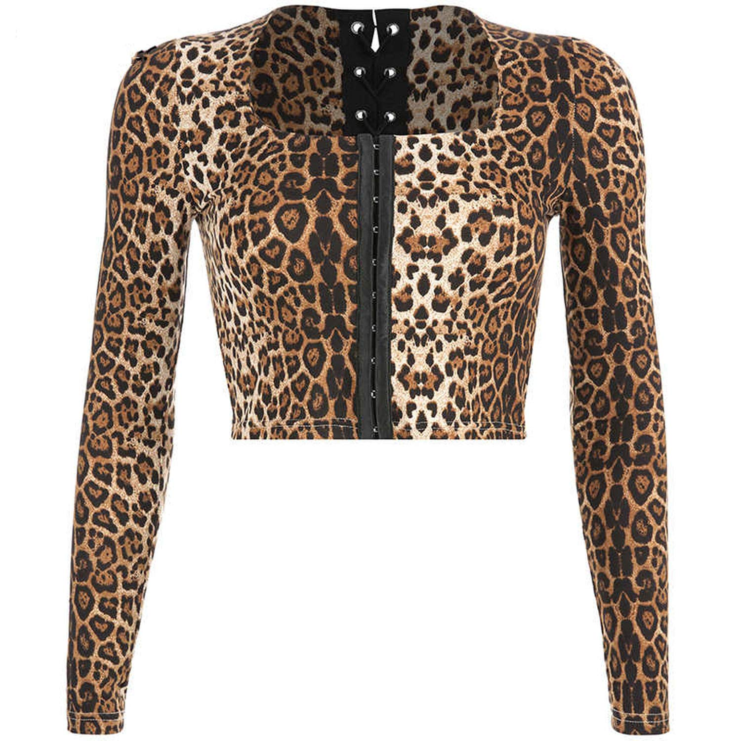 CHRISTY Y Womens Casual Leopard Skinny Tees Tops Long Sleeve Short Square Collar Female Shirts Tee Shirt
