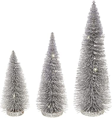 Raz Set of 3 Silver Sparkled Bottle Brush Christmas Trees - 8, 10 and 14 Inches High