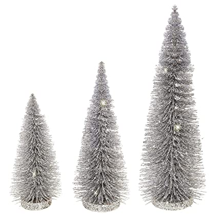 raz set of 3 silver sparkled bottle brush christmas trees 8 10 and 14 - How To Make A Wine Bottle Christmas Tree