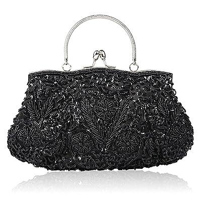 215386363a EROUGE Beaded Sequin Design Flower Evening Purse Large Clutch Bag (Black)