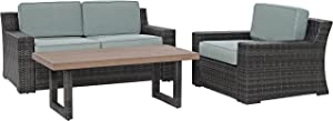 Crosley Furniture KO70101BR Beaufort 3-Piece Outdoor Wicker Seating Set, Brown with Mist Cushions