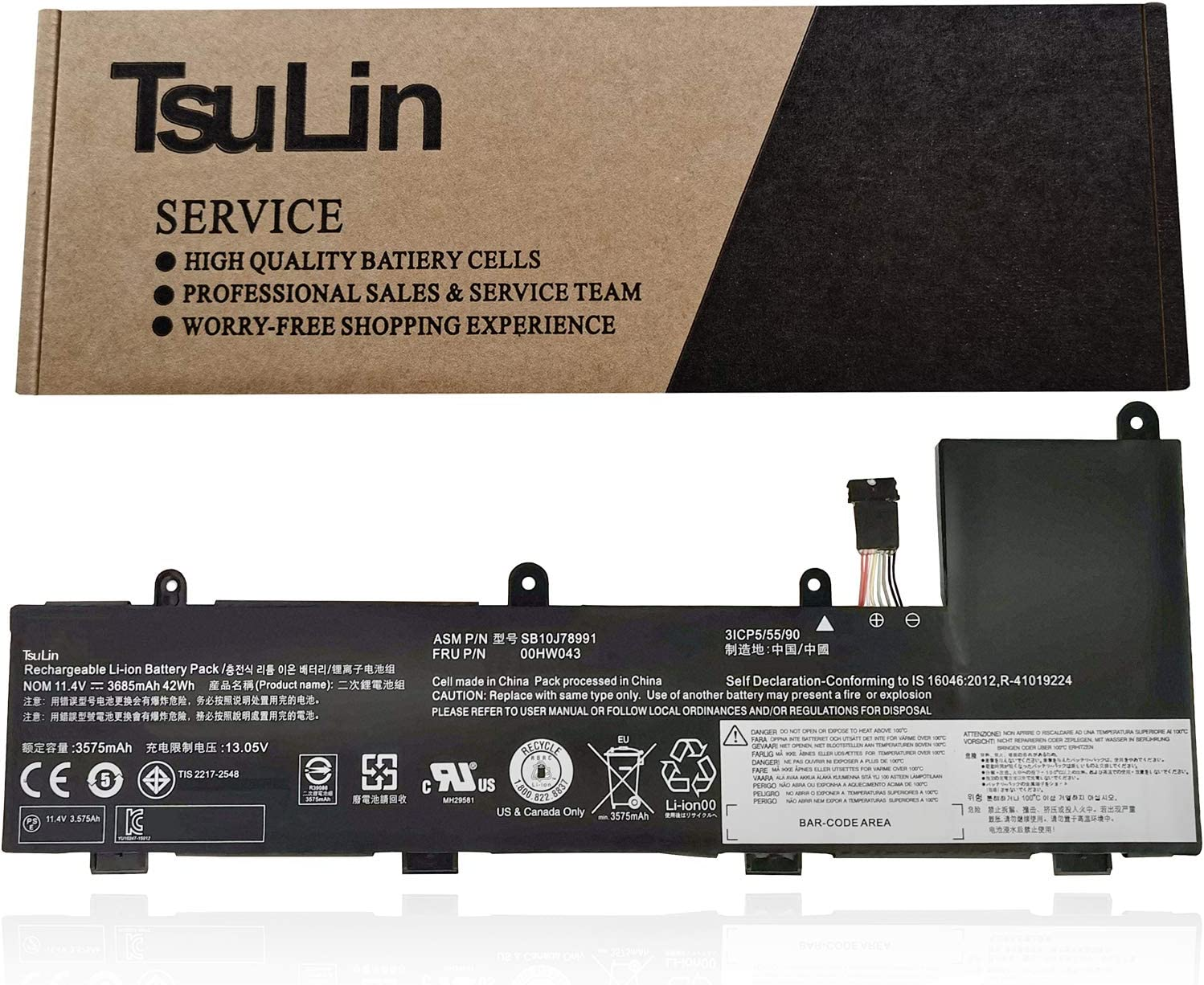 TsuLin 00HW043 Laptop Battery Compatible with Lenovo ThinkPad Yoga 11E 3rd Gen 11E Chromebook Series Notebook SB10J78991 00HW042 00HW044 SB10J78992 SB10J78990 11.4V 42Wh 3685mAh