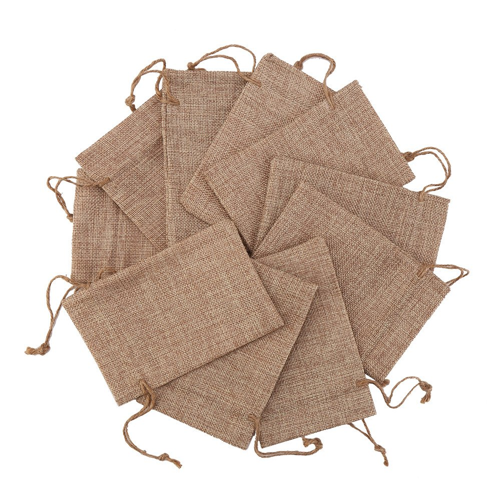 DECORA 50 Pieces 4x6 Inch Burlap Drawstrings Gift Bag Jute Hessian Linen Pouches Sacks for Wedding Jewelry Party Favors by DECORA