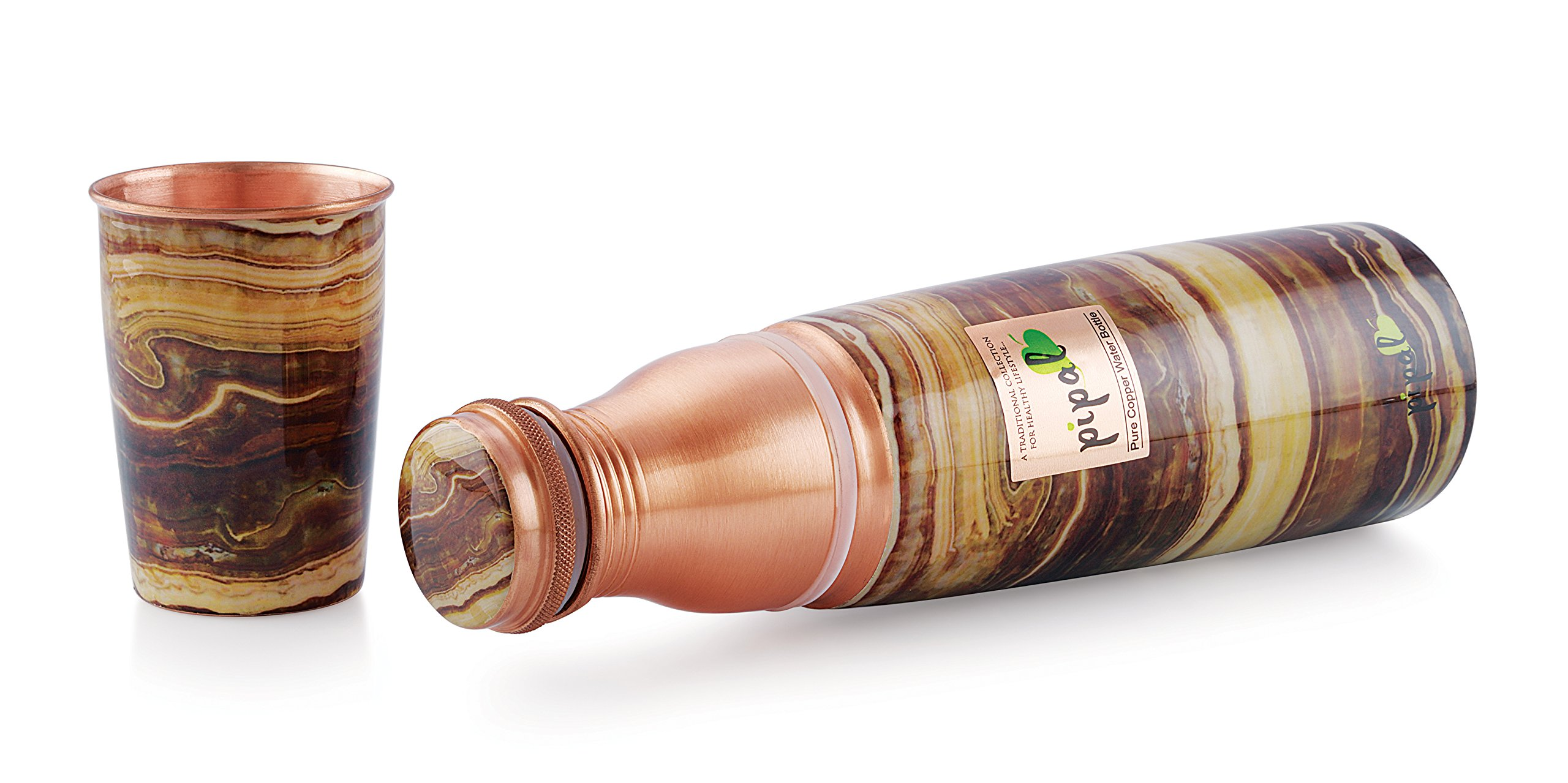 Pipal O2 Pure Copper Water Bottle, Leak Proof and Joint-less, Perfect for Sports, Fitness, Yoga with Ayurvedic Health Benefits (Wood) by Pipal (Image #3)