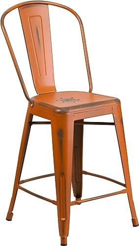 Flash Furniture Commercial Grade 24″ High Distressed Orange Metal Indoor-Outdoor Counter Height Stool