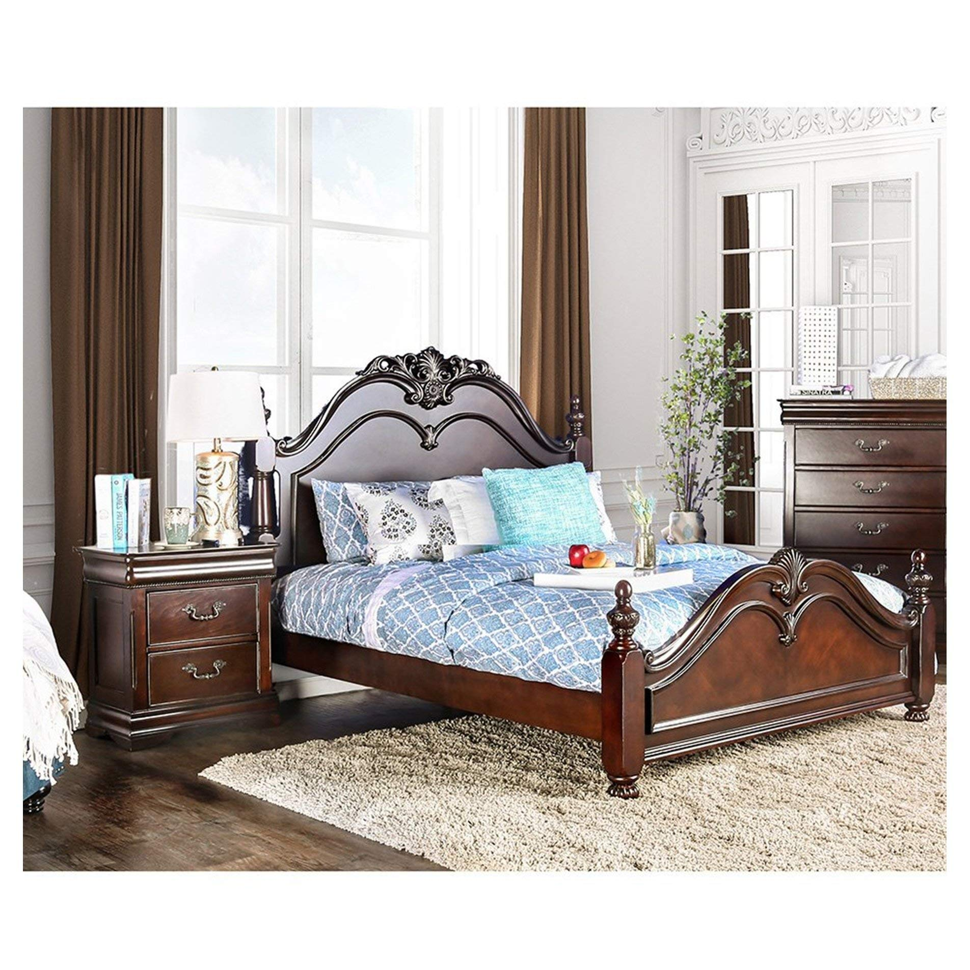Furniture of America Bastillina English Style 2-Piece Cherry Poster Bed with Nightstand Set Oversized