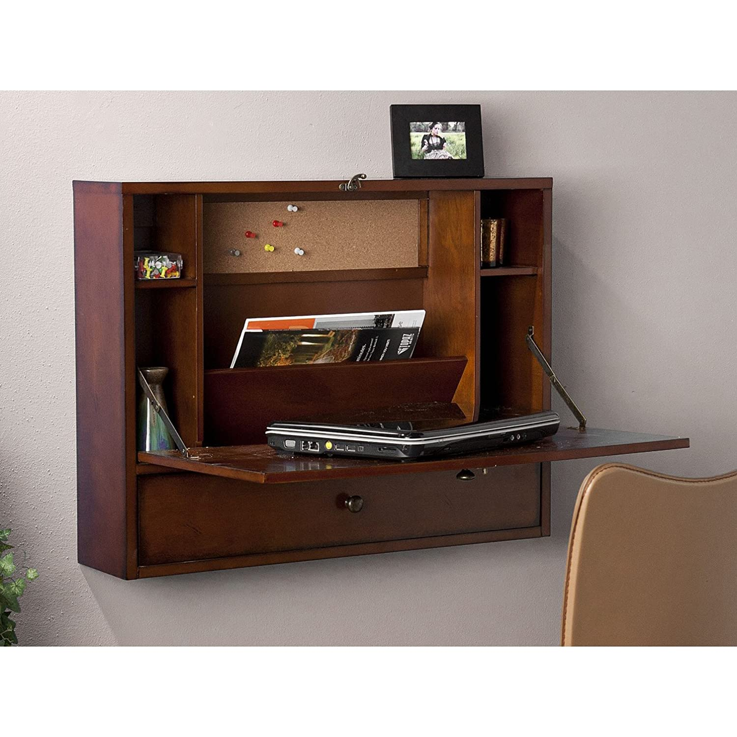 SEI Southern Enterprises Willingham Wall Mount Folding Laptop Desk