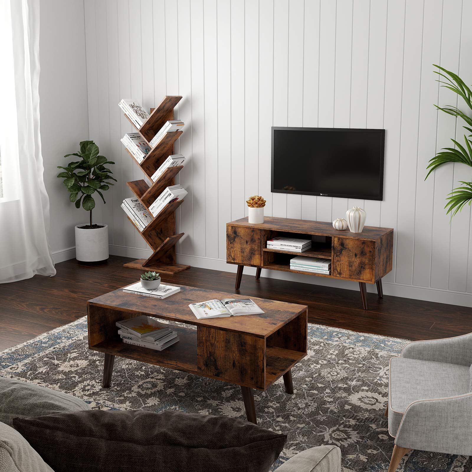 VASAGLE Tree Bookshelf, 8-Tier Floor Standing Bookcase, with Wooden Shelves for Living Room, Home Office, Rustic Brown ULBC11BX by VASAGLE (Image #4)