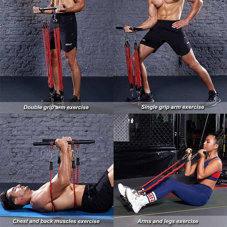 Kit de Barra de Pilates, Banda de Entrenamiento Resistencia para Gimnasio Casa, Adecuado para Sentadillas, Glúteos,Estiramiento