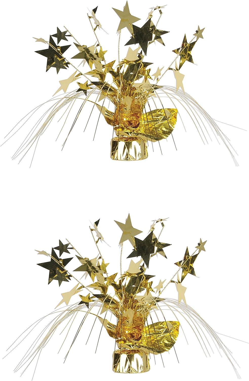 2-Pack Beistle 50806-GD Star Gleam N Burst Centerpiece 15-Inch