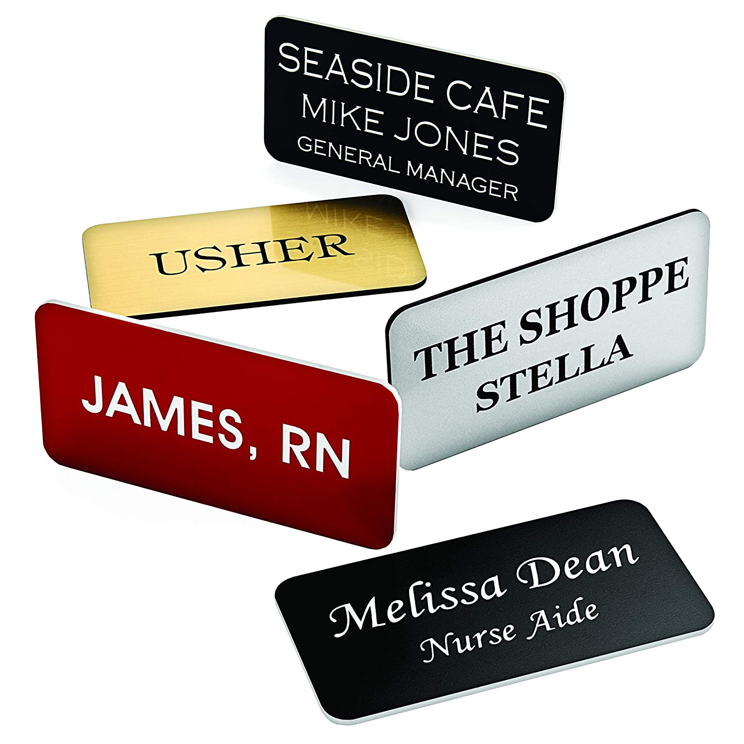 75b6ae6af835 Custom Engraved Name Tag Badges – Personalized Identification with Pin or  Magnetic Backing, 1 Inch x 3 Inches, Black/White