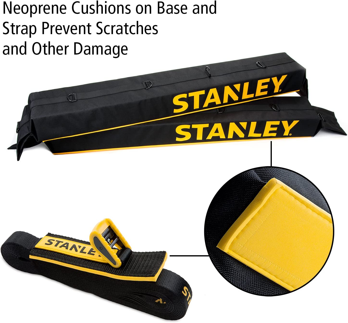 Includes 2 Heavy Duty Tie Down Straps Stanley Universal Car Roof Rack Pad /& Luggage Carrier System Anti Vibration Great for Transporting Kayak SUP Surfboard Lumber /& Other Long Items