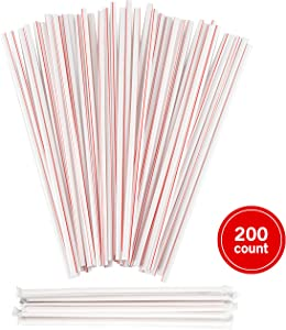 Plastic Drinking Red & White Straws - Extra Long Striped, Individually Wrapped Straw 10 inches long, BPA Free, Restaurant Grade,200 Pack Disposable Straws