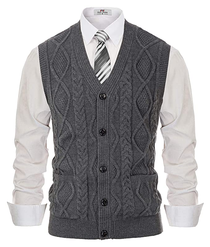 1920s Style Mens Vests PJ PAUL JONES Mens Cardigan Sweater Vest Cable Knitwear V-Neck Waistcoat $27.99 AT vintagedancer.com