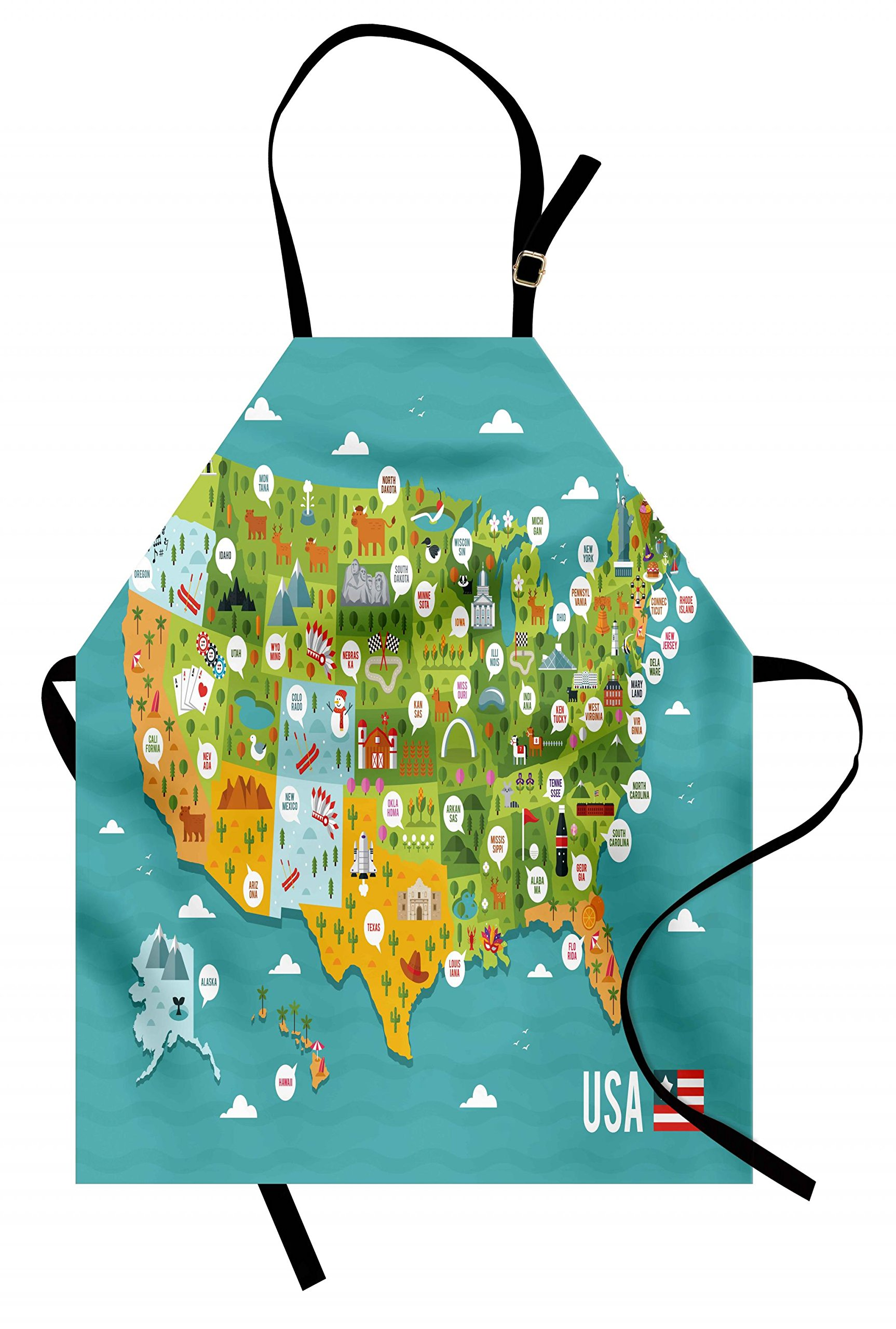 Lunarable USA Apron, Cartoon Style Map of United States with State Names and Famous Tourist Attractions, Unisex Kitchen Bib Apron with Adjustable Neck for Cooking Baking Gardening, Multicolor