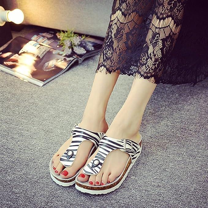 LIXIONG Tragbar Paar Strand Schuhe Sommer Mode Zebra Hausschuhe Weibliche Kork Hausschuhe Für 18-40 Jahre Alt Modeschuhe ( größe : EU42/UK8.5/CN43 ) v4O8LI