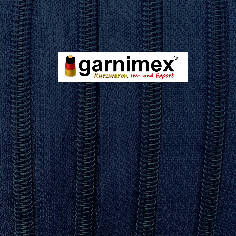 Farbe 023 5 m Meterware 15 Zipper garnimex Endlos-Rei/ßverschluss 3 mm dunkelblau