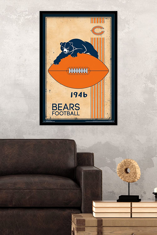 Trends International Chicago Bears 24.25 X 35.75 Retro Logo Wall Poster Multi