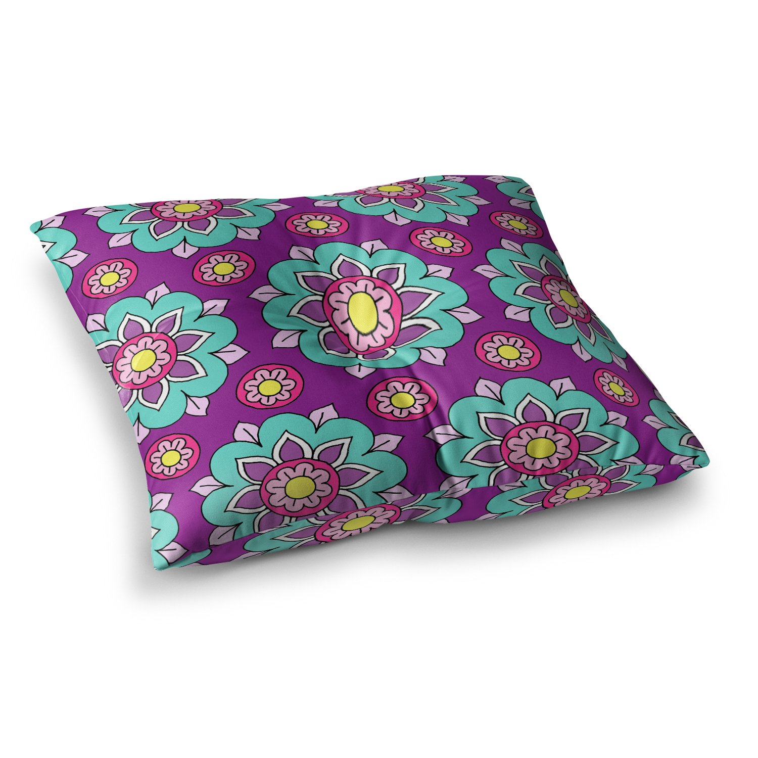 Kess InHouse Sarah Oelerich Bright Blossoms Aqua Purple 23 x 23 Square Floor Pillow