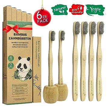 Cepillo Dientes Bambu Paquete de 6 + 2 Portacepillos de Dientes ...