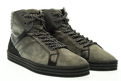 HOGAN REBEL man high HXM1410R283DWH0XD2 R141 BASKETBALL sneakers 45.5 (11)  Grigio   nero a6c2b8fcc26