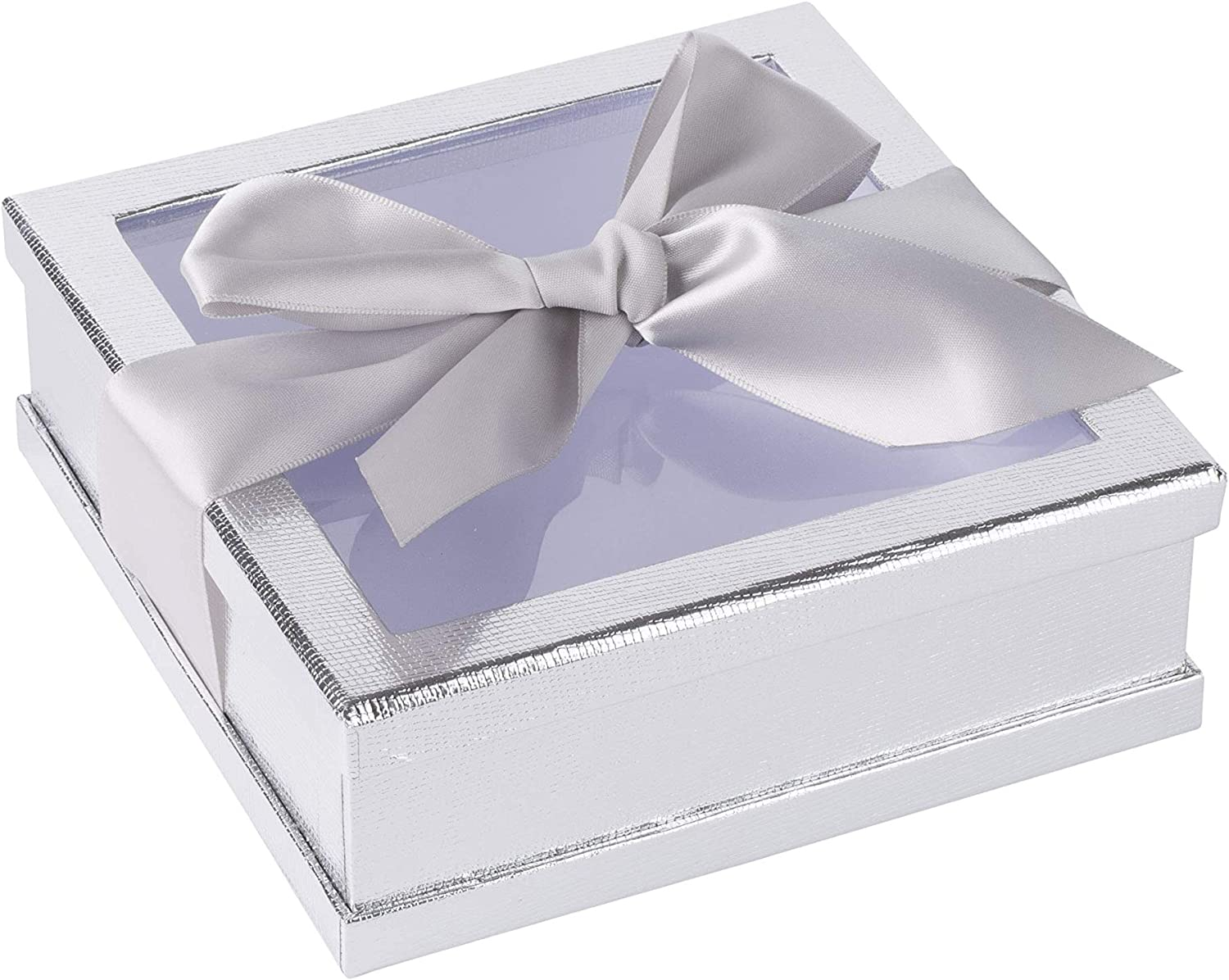 """Cookies and Cupcakes Hammont Clear Window Gift Boxes Treat Boxes Perfect for Party Favors Maroon, 6/"""" x 6/"""" x 2/"""" Multipurpose Bakery Boxes with Ribbon 3 Pack"""