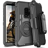 S9 Case,Case for Galaxy S9,Samsung S9 Case Belt Clip,DUEDUE Heavy Duty Shockproof Kickstand Swivel Full Body Rugged Bumper Hybrid Holster Protective Case for Samsung Galaxy S9 for Men and Boys, Black