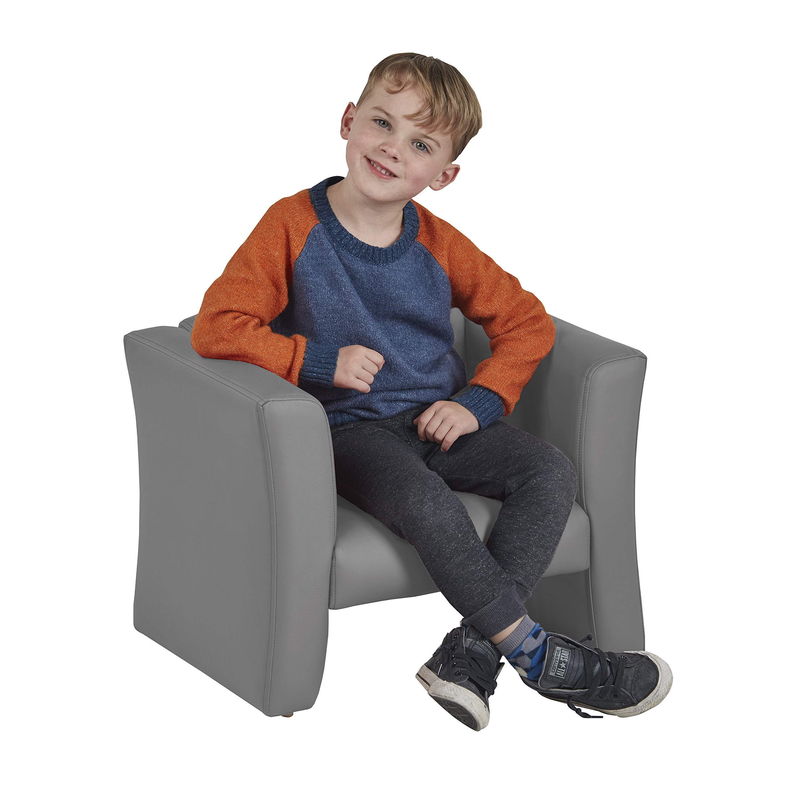 ECR4Kids SoftZone Gum Drop Upholstered Chair for Kids - Daycare, Homeschool, Classroom Furniture, Home Decor - Grey