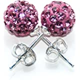 Busy Bead Pair of Shamballa Stud Earrings With Rose Crystal Rhinestone Clay Disco Ball 8mm