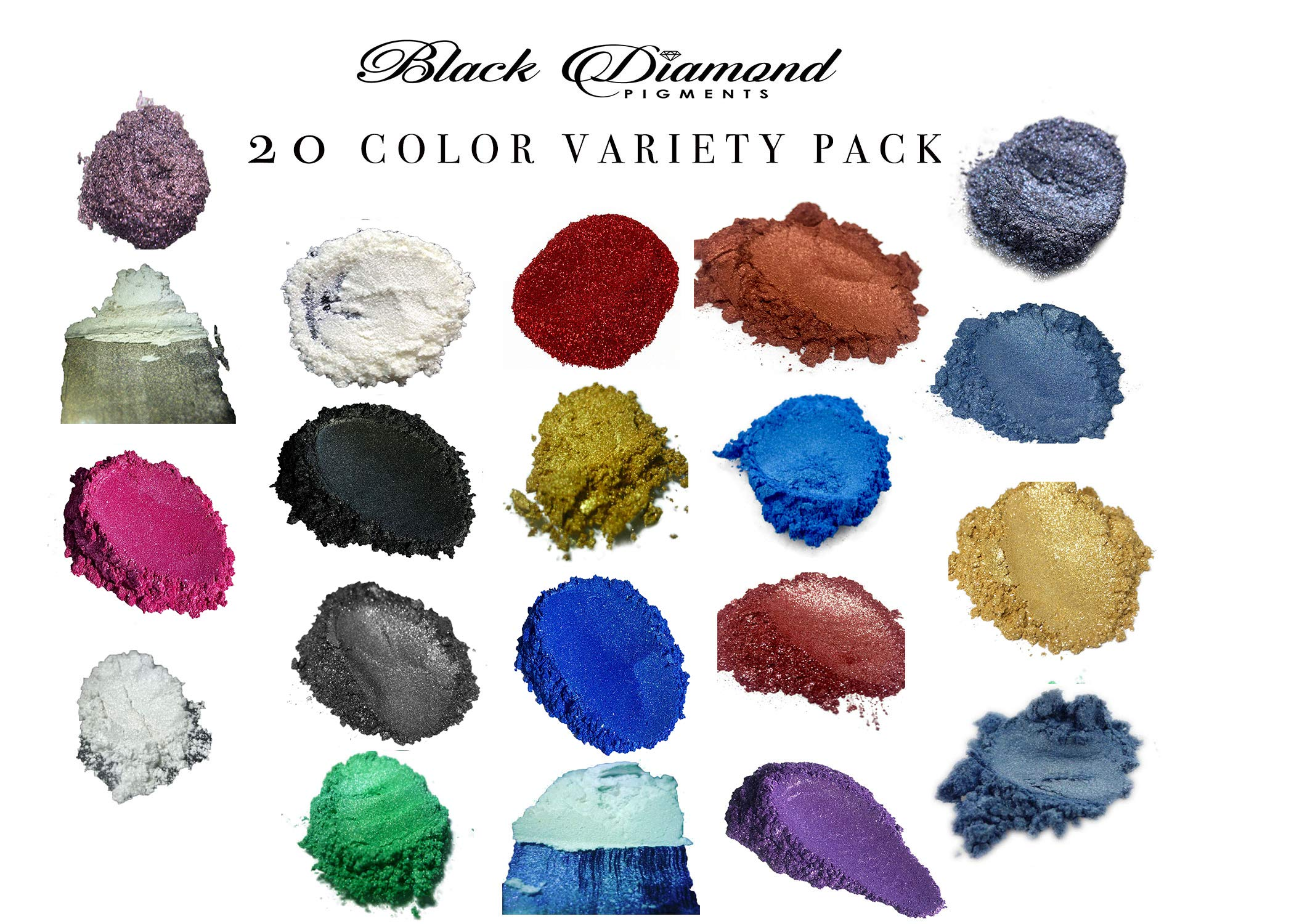 20 Color Variety Pack Mica Powder Pure, 2TONE Series Variety Pigment Packs (Epoxy,Paint,Color,Art) Black Diamond Pigments by BLACK DIAMOND PIGMENTS