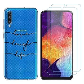 Funda Samsung Galaxy A50 Test de Personalidad Suave TPU Silicona Protector Trasero Carcasa para Samsung Galaxy A50 (6,4 Pulgada) con Dos Protector de ...