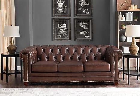 Hydeline Stanwood 100% Leather Sofa Set, Dark Brown (Sofa)