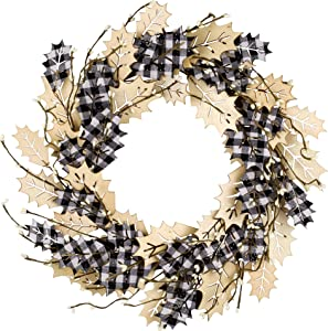 18 Inch Christmas Wreath Winter Wreath for Front Door Christmas Decorations with Wooden Leaves and Black and White Buffalo Check Christmas Window Wall and Party Decorations