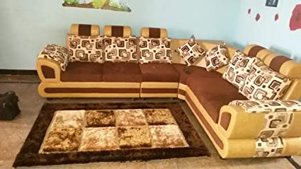 Froster Oak Sofa Wooden Fabric 6 Seater L Shaped Sofa Set For Living