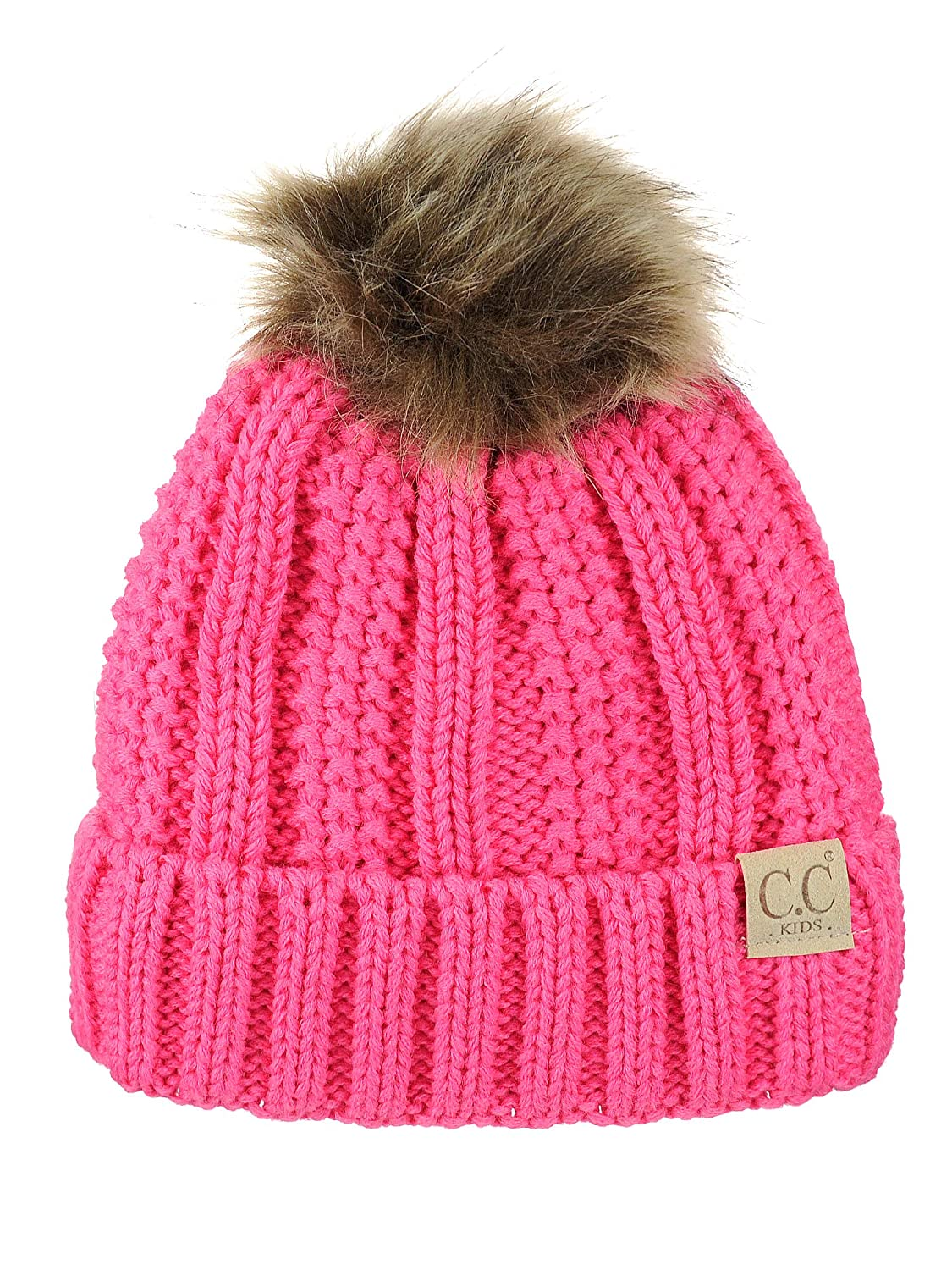 458efbbcb8a C.C Kids Childrens Cable Knit Faux Fuzzy Fur Pom Fleece Lined Cuff Beanie  Candy Pink ...
