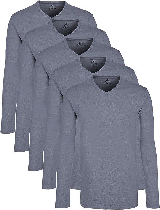 Lower East Camiseta de manga larga con cuello de pico, pack de 5 ...