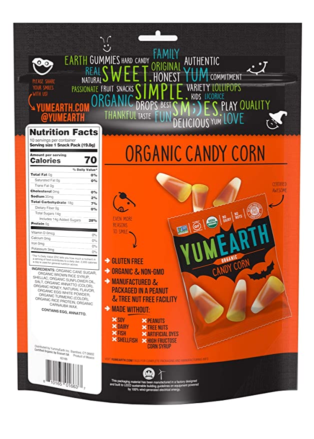 Amazon Com Yumearth Organic Candy Corn Snack Packs 10 Count Grocery Gourmet Food