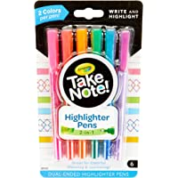 Crayola Take Note Dual Tip Highlighter Pens, Assorted Colors, School Supplies, 6 Count