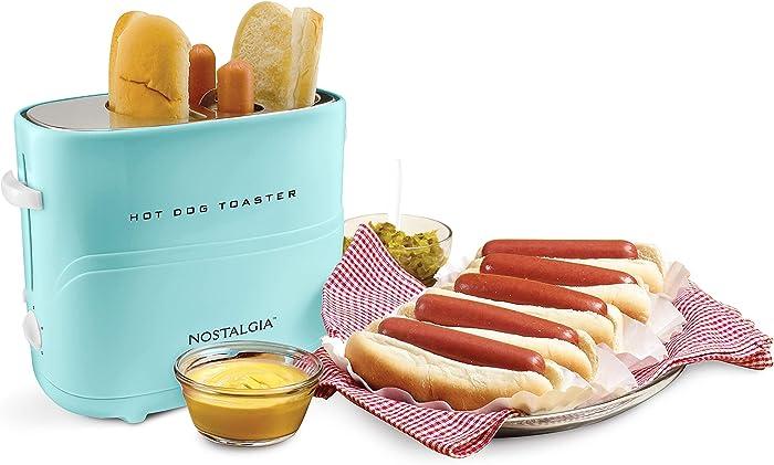 Nostalgia HDT600AQ Pop Up Hot Dog Toaster, 2 Dog & Bun, Aqua