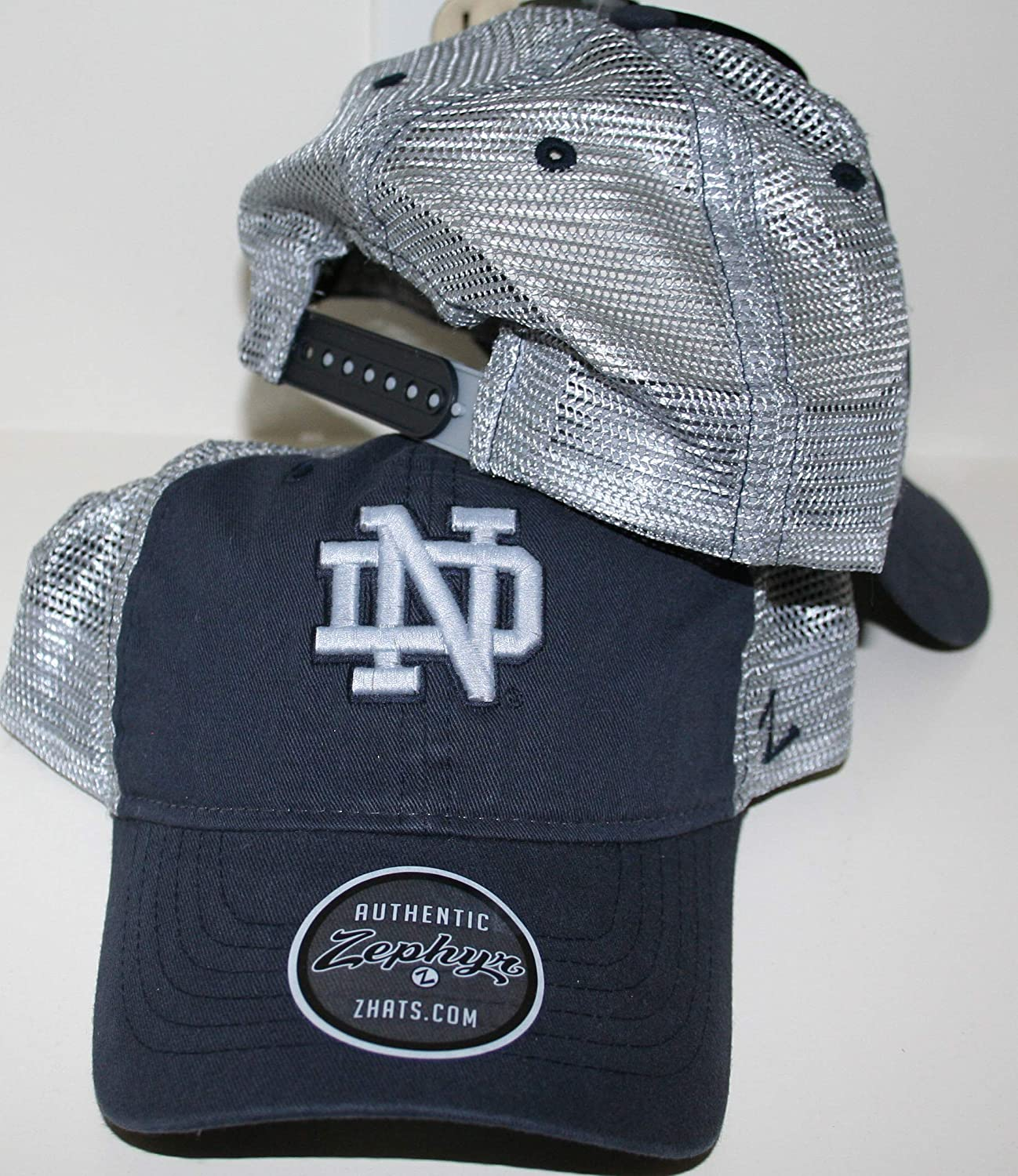 Zephyr University of Notre Dame ND Fighting Irish Top Dark Navy Blue Wash Cotton Nimbus Adult Mens//Womens//Youth Adjustable Baseball Mesh Trucker Hat//Cap