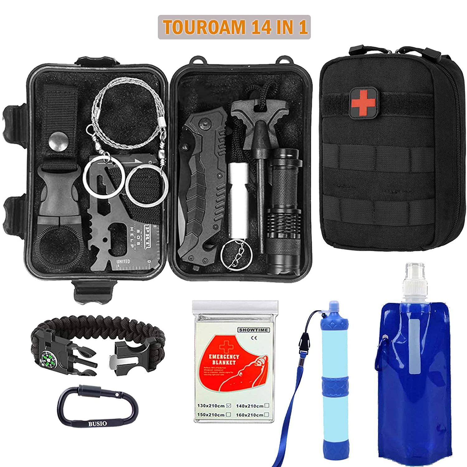 Tactical IFAK,MOLLE Admin Pouch-Mylar Blanket-5 In 1 Bracelet and Military Multitool Kit SOS First Aid Emergency Kit TOUROAM Adventure Survival Kit