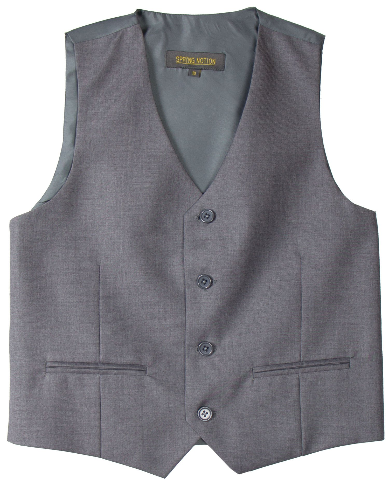 Spring Notion Big Boys' Two Button Suit 05 Grey Vest