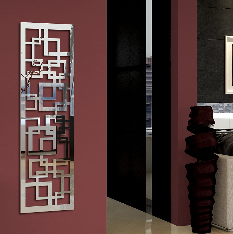 Wandgarderobe / Garderobe Design Quadrat, 140x40x2 cm, Edelstahl 3D poliert (glä nzend) (Marke: Szagato, Made in Germany) (Kleiderstä nder Garderobenstä nder Wandpaneel Wanddeko Kleiderhaken Flurgarderobe)